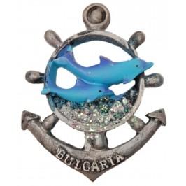 Сувенирна фигурка котва с магнит - два делфина