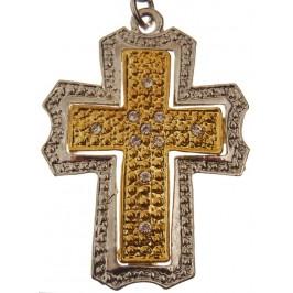 Сувенирен метален ключодържател - кръст, инкрустиран с бели камъни