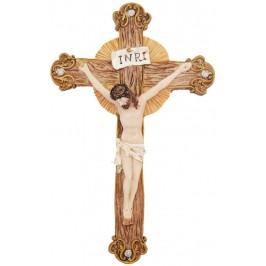 Декоративна коледна фигурка - Исус на кръста, изработена от гипс