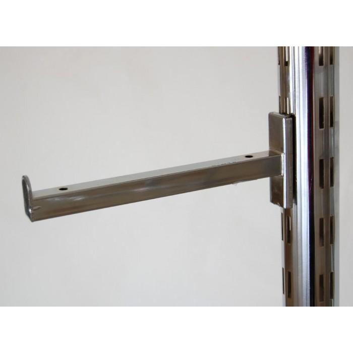 Кука за стелаж - метална лайсна за стъклен рафт, никелирана