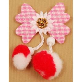 Комплект мартеница цвете от плат - каре, с помпони и мъниста