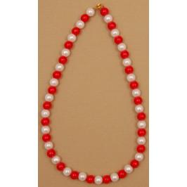 Мартеница колие перли бяло и червено с метална закопчалка