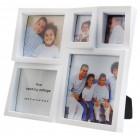 Бяла мултирамка за 5 снимки, изработена от PVC материал и фронт стъкло