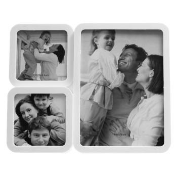 Бяла мултирамка за 3 снимки с овални ъгли