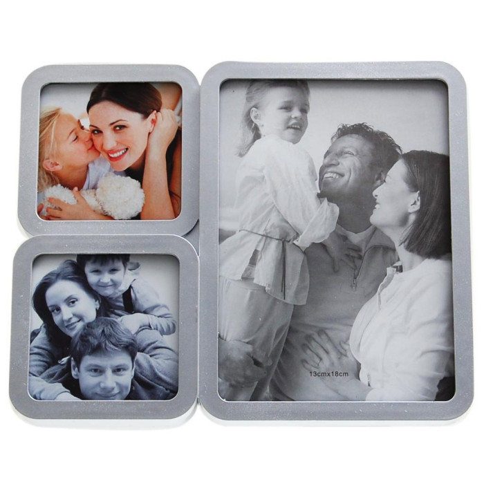 Сребриста мултирамка за 3 снимки с овални ъгли