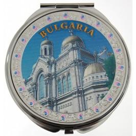 Сувенирно джобно огледало метал, декоративно капаче с лазерна инкрустация - Варненската катедрала