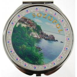 Сувенирно джобно огледало метал, декоративно капаче с лазерна инкрустация - изглед от Созопол
