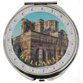 Сувенирно джобно огледало метал, декоративно капаче с лазерна инкрустация - църква от Несебър