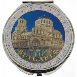 Сувенирно джобно огледало метал, декоративно капаче с лазерна инкрустация - Катедралата в София