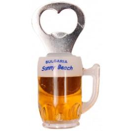Декоративна фигурка с магнит - халба бира с отварачка и надпис Слънчев бряг