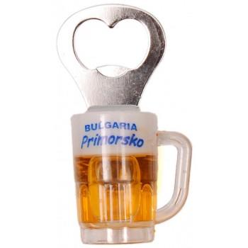 Декоративна фигурка с магнит - халба бира с отварачка и надпис Приморско