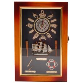 Сувенирна дървена кутия за ключове с часовник с морски възли