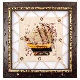 Сувенирно мини пано - кораб в рамка дърво