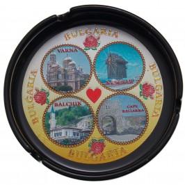 Сувенирен керамичен пепелник с лазарна графика - забележителности по Черноморието