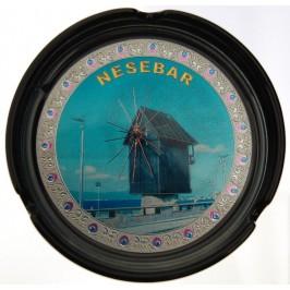 Сувенирен керамичен пепелник с лазарна графика - Вятърната мелница в Несебър