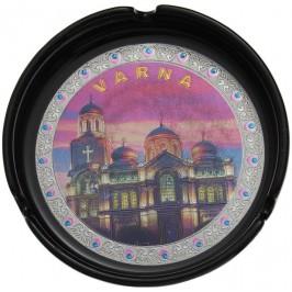 Сувенирен керамичен пепелник с лазарна графика на Варненската катедрала