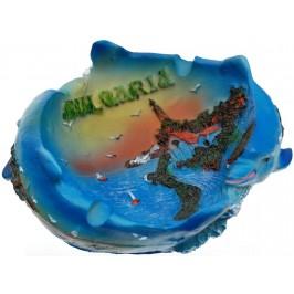 Сувенирен порцеланов пепелник с морски мотив и надпис България