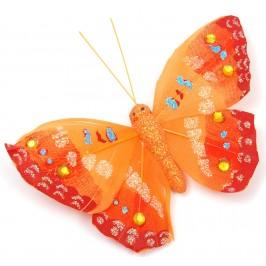 Декоративна фигурка пеперуда с магнит, украсена с цветени камъни и брокат