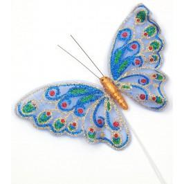 Декоративна фигурка пеперуда с магнит и метален постамен, украсена с цветен брокат