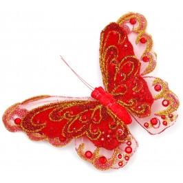 Декоративна фигурка пеперуда върху щипка, декорирана с цветени камъни и брокат