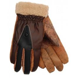 Зимни мъжки ръкавици - еко кожа и текстил с ластик на китката