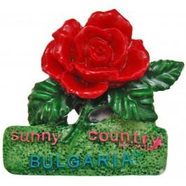 Сувенирна фигурка с магнит - роза и надпис България, изработена от полирезин