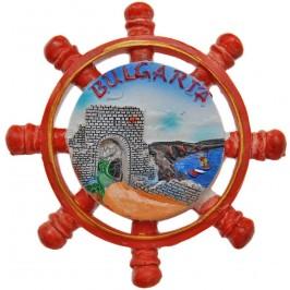 Сувенирна фигурка с магнит - рул с портал Калиакра, изработена от полирезин