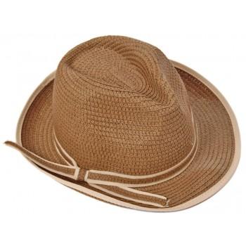 Красива дамска плетена шапка с периферия извита нагоре