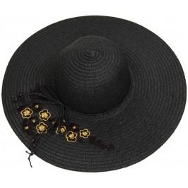 Лятна дамска плетена шапка с бродерия цвете, декорирана с панделка