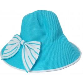Красива дамска шапка с голяма периферия - синя