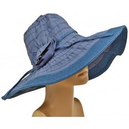 Красива платнена дамска шапка с голяма периферия - синя