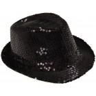Красива плетена шапка с периферия извита нагоре - черна