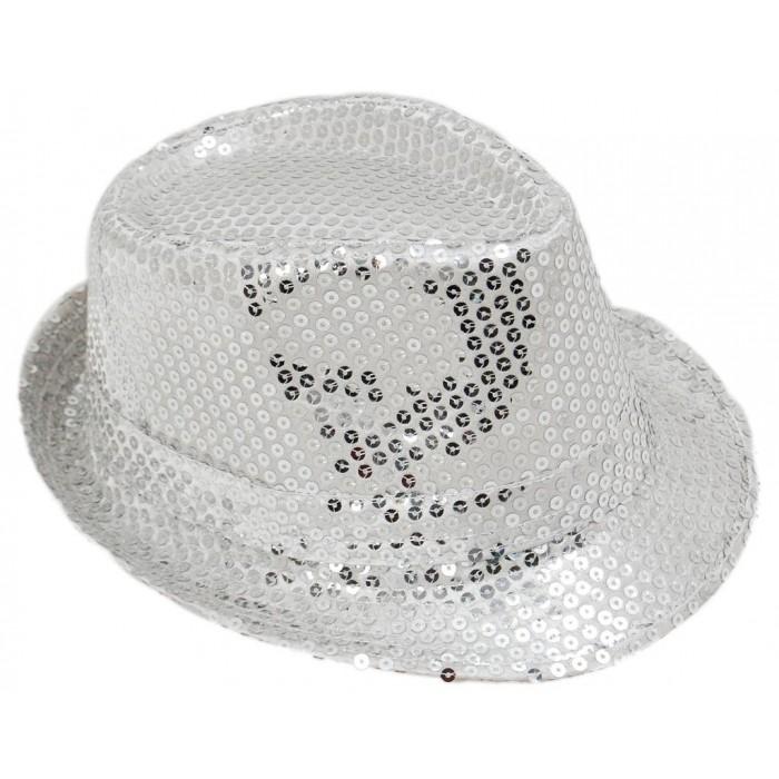 Красива плетена шапка с периферия извита нагоре - сива