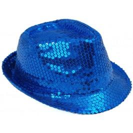 Красива плетена шапка с периферия извита нагоре - синя