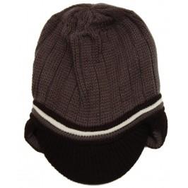 Красива дамска плетена зимна шапка с мини козирка и ушанки