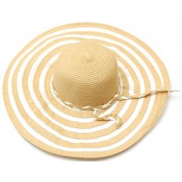 Красива дамска шапка с голяма периферия - кафяво и бяло