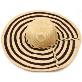 Красива дамска шапка с голяма периферия - кафяво и черно