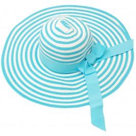 Красива дамска плетена шапка с периферия - бяло и синьо