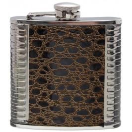 Сувенирна метална манерка -декорирана с имитация на крокодилска кожа