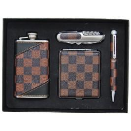 Сувенирна метална манерка с швейцарско ножче, тебакера и химикал