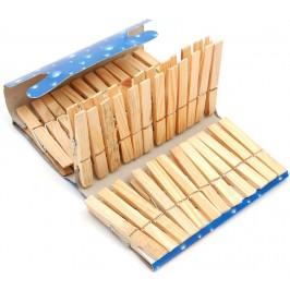 Комплект от 36 броя домакински щипки за простиране - дърво