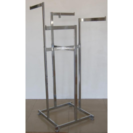 Тръбен метален стелаж с четири рамена - никелиран