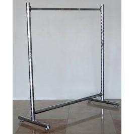 Тръбен метален стелаж с отвори по страниците за куки