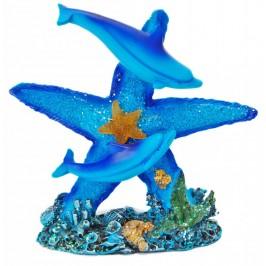 Декоративна светеща фигурка - два делфина върху морска звезда