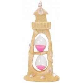 Пясъчен часовник с цветен пясък с красива декорация - фар, декориран с миди
