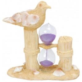 Пясъчен часовник с цветен пясък с красива декорация - чайка върху пънче