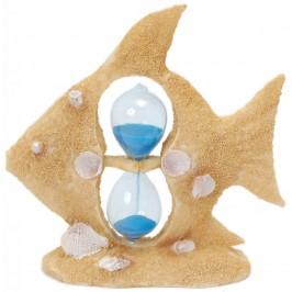 Пясъчен часовник с цветен пясък с красива декорация - риба, декорирана с миди и рапанчета