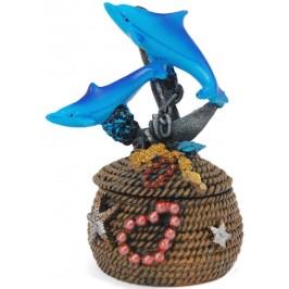 Декоративна фигурка върху кутийка за бижута - два делфина върху котва, изработени от полирезин
