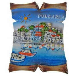 Декоративна релефна фигурка с магнит - морски пейзаж и надпис България