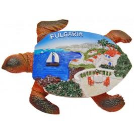 Сувенирна фигурка костенурка с магнит - морски пейзаж